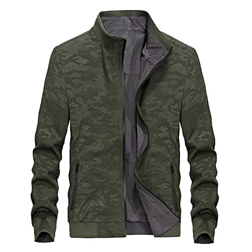 Mens Thick Warm Jacket Coat Full Two-sided jacket casual-army green _M