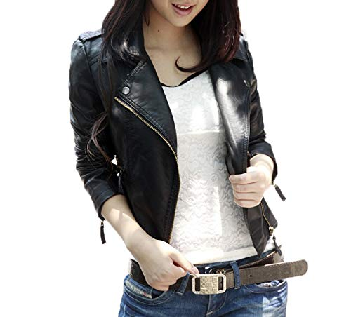 WOZNLOYE Frühling und Herbst Damen Lederjacke Mode Langarm PU Mäntel Kurz Jacke Outerwear Oberteile mit Zipper Slim Bikerjacke Coat Tops Oberbekleidung