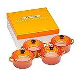Le Creuset 91006900090010 Set de mini cocottes, Redondas, Cerámica de gres, Naranja (Volcánico)