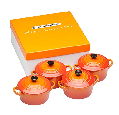 Le Creuset Set de mini cocottes, 4 unidades, Redondas, 200 ml cada una, 10 x 5 cm, Cerámica de gres, Volcánico