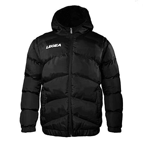 Legea heren jongens jas Quebec capuchon winterjas windjack running voetbal lopen training sport zwart (L)