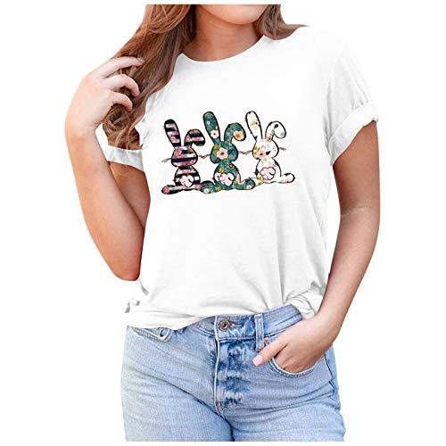T-shirt de Pâques pour femme - Décontracté - Imprimé floral - 3D Animal Graphics - Pull à manches courtes et col rond - Vrac (XXXL, blanc)