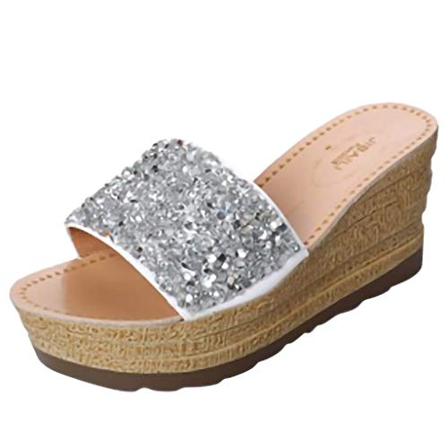 Women Sandals, FAPIZI Summer New Sequin Platform High Heeled Shoes Ladies Soft Wedges Flip Flop Sandals Flat Shoes Silver