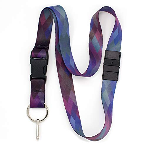 Buttonsmith Diamonds Breakaway Lanyard - with Buckle and Flat Ring - Made in The USA
