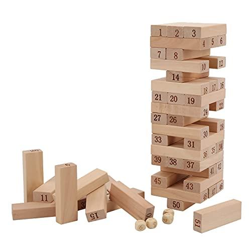 FECAMOS Wood Tumble Tower Building Toy, Juguete clásico para Barras Bloques Tower Building Toy 4 Dados + 51 Bloques de Madera Paciencia y autocontrol para Juegos Entre Padres e Hijos