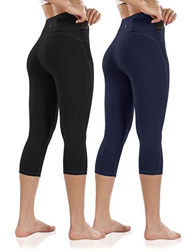 ODODOS Pantalones de entrenamiento de cintura alta para mujer, con bolsillo trasero, para correr, gimnasio, fitness, yoga, capris - - XXL