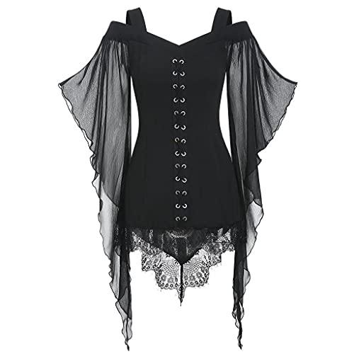 BIBOKAOKE Blusa medieval para mujer, con hombros descubiertos, para fiesta, gótico, renacentista, punk, encaje, patchwork, mangas con cuello en V, para Halloween o carnaval