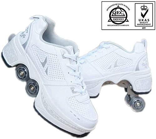 AG 2 in-1-Zapatos de usos múltiples, zapatos cómodos deportes al aire libre, ajustable con estilo Diseño Principiante patines de ruedas, unisex Niño Niña de 4 ruedas,Blanco,41