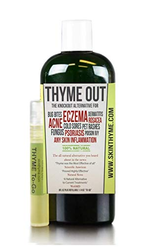 Thyme Out The Knockout Alternative For Eczema, Psoriasis, Acne, Dermatitis, Rosacea, Cold Sores, Pet Rashes, Bug Bites, Fungus, Poison Ivy, Any Skin Inflammation 1 8oz + 1/4oz