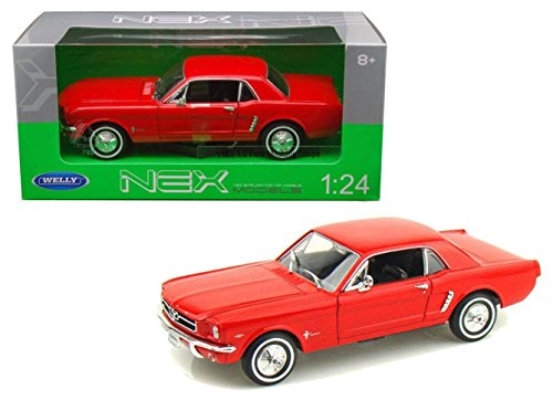 New 1:24 W/B WELLY COLLECTION - RED 1964 1/2 FORD MUSTANG HARD TOP Diecast Model Car By Welly