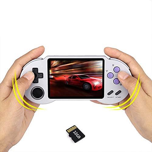 Chtom Mini Consola de Juegos de Mano 32G, 3.5'Juegos de Videojuegos Retro for niños 3000 Juegos clásicos, Soporte televisor Conexión, Compatible con PS1, FBA, MD, GB, etc.