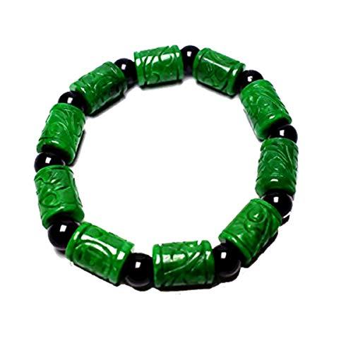 yigedan Natural Old Handmade Green Gemstone Jade Beads Women Mens Bangle Bracelet