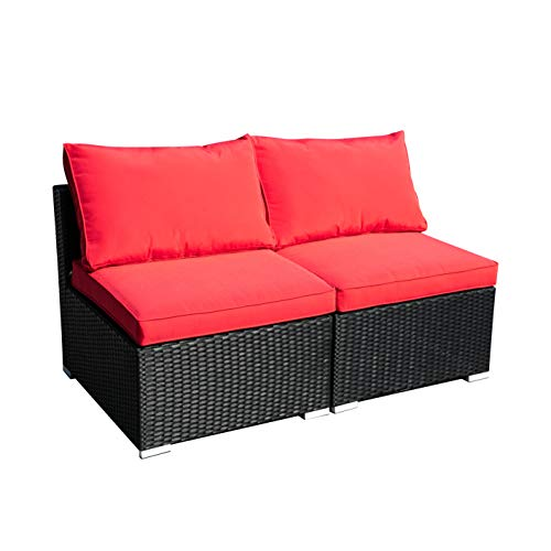 Outdoor Patio Furniture 2-Pieces PE Rattan Wicker Sectional Red Cushioned Sofa Sets