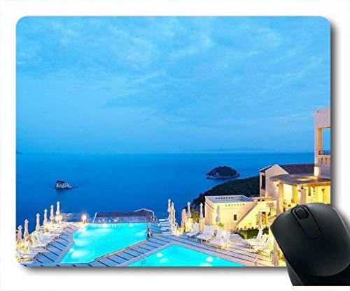 Mauspad mit Santorini Hotel Pool Restaurant Neopren Gummi Standardgröße