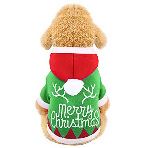 Longra Abbigliamento Invernale per Cani E Gatti Vestiti con Cappuccio Caldo Maglione Camicia Maglione Natalizio Costume di Natale Vestiti Carnevale Cani Regalo di Natale per Cani