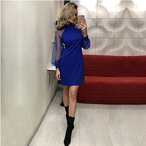 WDJYNL Jurk A-lijn Parel Kralen Mesh Mouw Jurk Vrouwen Herfst Tuniek Jurk Zwart Roze Blauw Lange Mouw Elegante Dames Mini Party Jurk