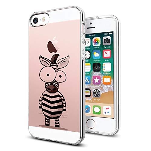 Verco Cover per iPhone SE, Custodia Morbida Silicone per Apple iPhone 5 S Cover con Motivo, Zebra