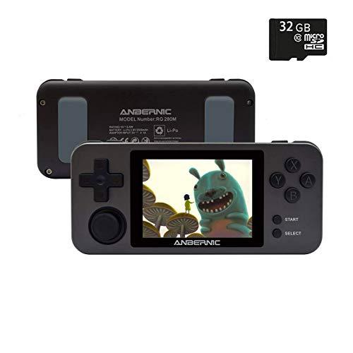Anbernic RG280M Console Giochi con 32G TF Card,14000 Giochi Classici Integrati, Console di Gioco Portatile OpenDingux Sistema,CPU 4770,Retro Console Portatile 2.8 Inch IPS(nero)