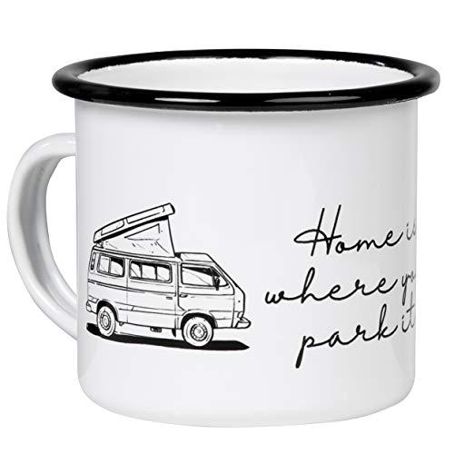 T3 | Home is Where You Park IT | Hochwertiger Emaille Becher mit T3 Bulli mit Aufstelldach Motiv | leicht und robust | für Camping, Vanlife | von MUGSY.de