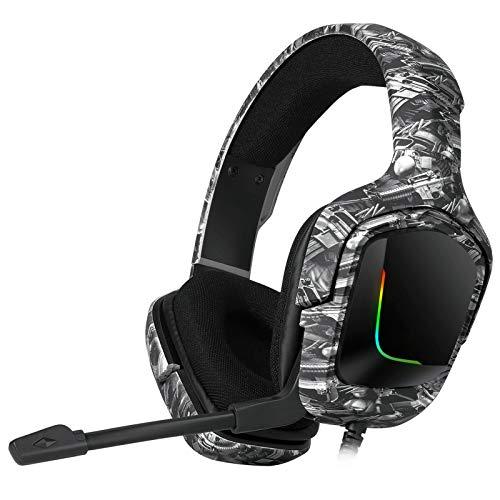 Kuaijie Auriculares para gaming Deep Bass estéreo, con cable, con micrófono, retroiluminación para PC de sobremesa RGB, auriculares para juegos, auriculares Deep Bass estéreo, con cable, para gamer