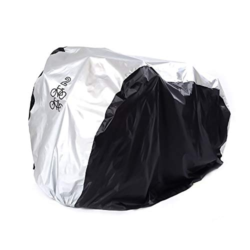 Hengme Funda para bicicleta de montaña, impermeable, antipolvo, lluvia,funda para la mayoría de bicicletas (hasta 29 pulgadas), color negro plateado(200 x 75 x 110, para 2 bicicletas)