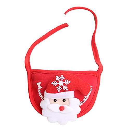 Haowen Ropa Navidad Vestir Mascota Tocado Saliva Toalla Sombrero Saliva Toalla Rojo Viejo