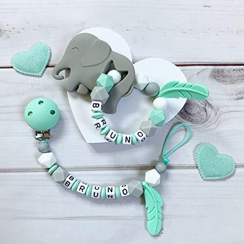 Schnullerkette Nuckelkette Beißring Greifring Greifling mit Namen Silikon Set Junge