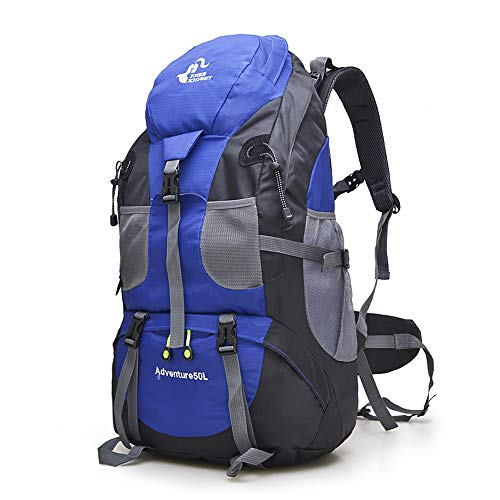 50L Waterproof Ultra Lightweight Hiking Backpack,Frameless,Outdoor Sport Daypack Travel Bag for Climbing Camping Touring Mountaineering Fishing (Blue)