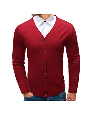 APRAW Mens Casual Slim Fit Soft Cotton V-Neck Button Down Lightweight Knitted Cardigan Sweater with Ribbing Edge Red