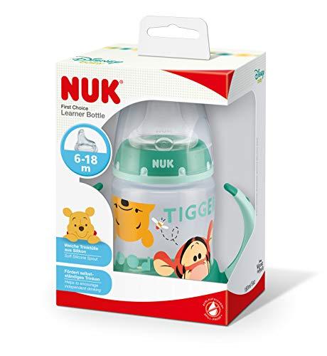 NUK 10215220 Disney Winnie First Choice Trinklernflasche aus PP 150ml, mit Soft-Trinktülle aus Silikon, BPA frei, ab 6 Monate, grün - 9