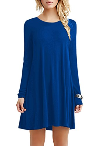 YMING Damen Blusenkeid Lose Tunika Casual T-Shirt Kleid Langarm Basic Kleid Blau M