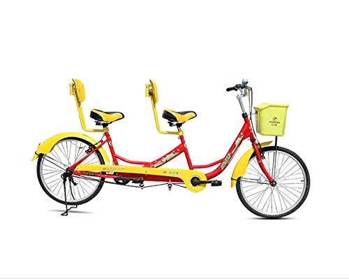 Yzi Tandem Bicycle, Dual-Drive 21-Speed Cruiser Road Bike. Red/Blue Yellow,3