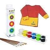 Juego de pinturas acrílicas Primo, 6 colores en orinal con 5 pinceles extra y delantal para manualidades