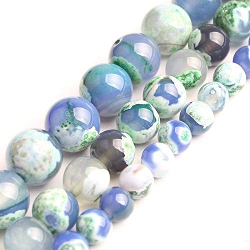 Natural Green Blue Fire Agate for Jewelry Making Necklace Round Loose Stone Beads Gemstone 6 8 10mm DIY Bracelet Necklace (Item Diameter : 10mm)