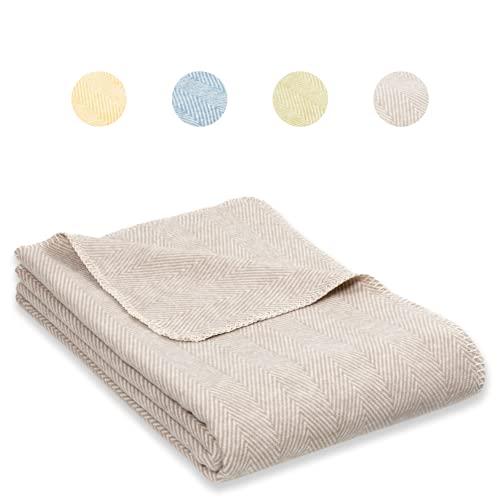 RIEMA® weiche Decke aus Bio-Baumwolle – Bio Kuscheldecke (KBA) für den Herbst & Winter in Taupe/beige mit Oeko-TEX Zertifikat – kuschelige Decke Baumwolle Made in Germany – 140x200 cm (beige)