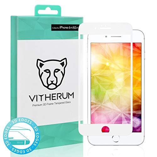 VITHERUM Turquoise pour iPhone 6 + / 6S + Blanc Verre trempé incurvé 3D Touch, Protection d'écran Ultra résistant 9H et 188mJ