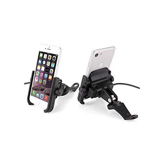 Fietshouder voor smartphones, motorfietsstuur, houder voor motorfietsen, mountainbikes, met aluminium stuurhouder, 12-24 V, USB 360 graden verstelbaar, zwart