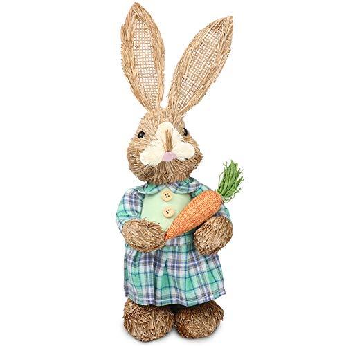 TYFY Ostern Stroh Kaninchen Dekoration, Süßer Strohhase Osterhase für Osterhasen Dekorationen, Osterhasen Dekor handgemachte Kaninchen Ornament für Ostern Home Decor Geschenk