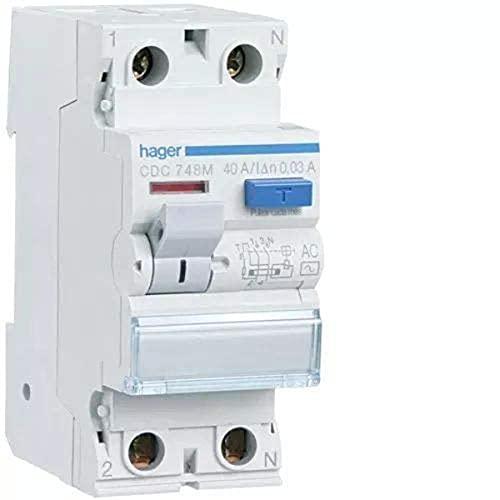 Hager cdc748m Interrupteur différentiel Type AC, 2p, 40A, 30Ma