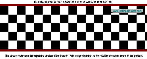Checkered Flag Cars Wallpaper Border-9 Inch (Red Edge)
