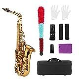 Instrumento Viento Madera Tipo Llave Golden Alto Saxofón Saxofón Latón Blanco Teclado Teclado Woodind Instrumento con...