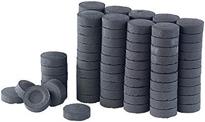 Duvence Kohle mit Kohleanzünder: Selbstentzündende Shisha-Kohle, 10 Rollen mit je 10 Briketts, 750 g (Naturkohle)
