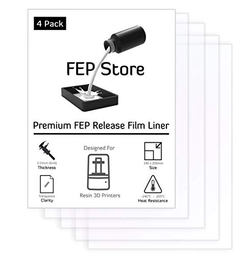 FEP Film 4 Pack/ 140x200mm/ for SLA DLP UV 3D Printers/Phrozen Sonic Mini/Anycubic Photon S Zero/Elegoo Mars
