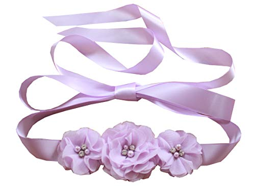Bridesmaid and Flowergirls sashes wedding sash pearls flowers belts (Lavender)