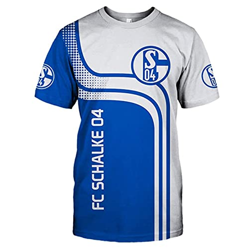 DSechcrsL Herren 3D Fc Schalke-04 Voll T-Shirt, Sport Sportswear Rundhals Tshirt Kurzarm Tee Top Männer&Damen Beiläufig Polyester Sweatshirt,Blau,XXXXL/XXXX~Large