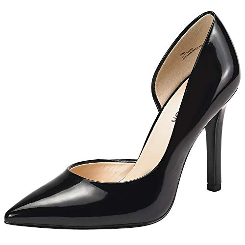 JENN ARDOR Stiletto High Heel Shoes for Women: Pointed, Closed Toe Classic Slip On Dress Pumps-Black 9.5 B(M) US