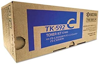 Kyocera 1T02KVCUS0 Model TK-592C Cyan Toner Cartridge, For use with M6026cidn, M6526cdn, M6526cidn, P6026cdn, FS-C2026MFP, FS-C2126MFP, FS-C2126MFP+, FS-C2526MFP, FS-C2626MFP and FS-C5250DN Printers