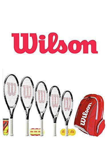 Wilson Raqueta de Tenis Federer Junior + 3 Pelotas y Mochila (19