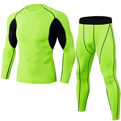 Ensembles de Sport Homme Survêtement Collants Pantalon de Compression sous-Vêtements Thermique Legging Slim Fit T-Shirt Manches Longues 2 Pièces Set