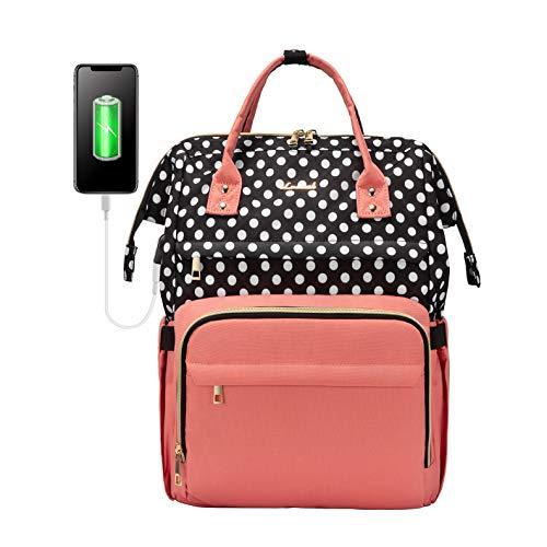 Laptop Backpack for Women Work Laptop Bag Stylish Teacher Backpack Business Computer Bags College Laptop Bookbag, Polka-Pink